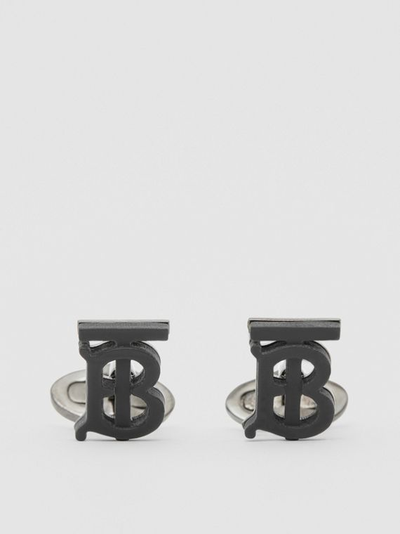 Monogram Motif Resin and Palladium-plated Cufflinks in Matte Black