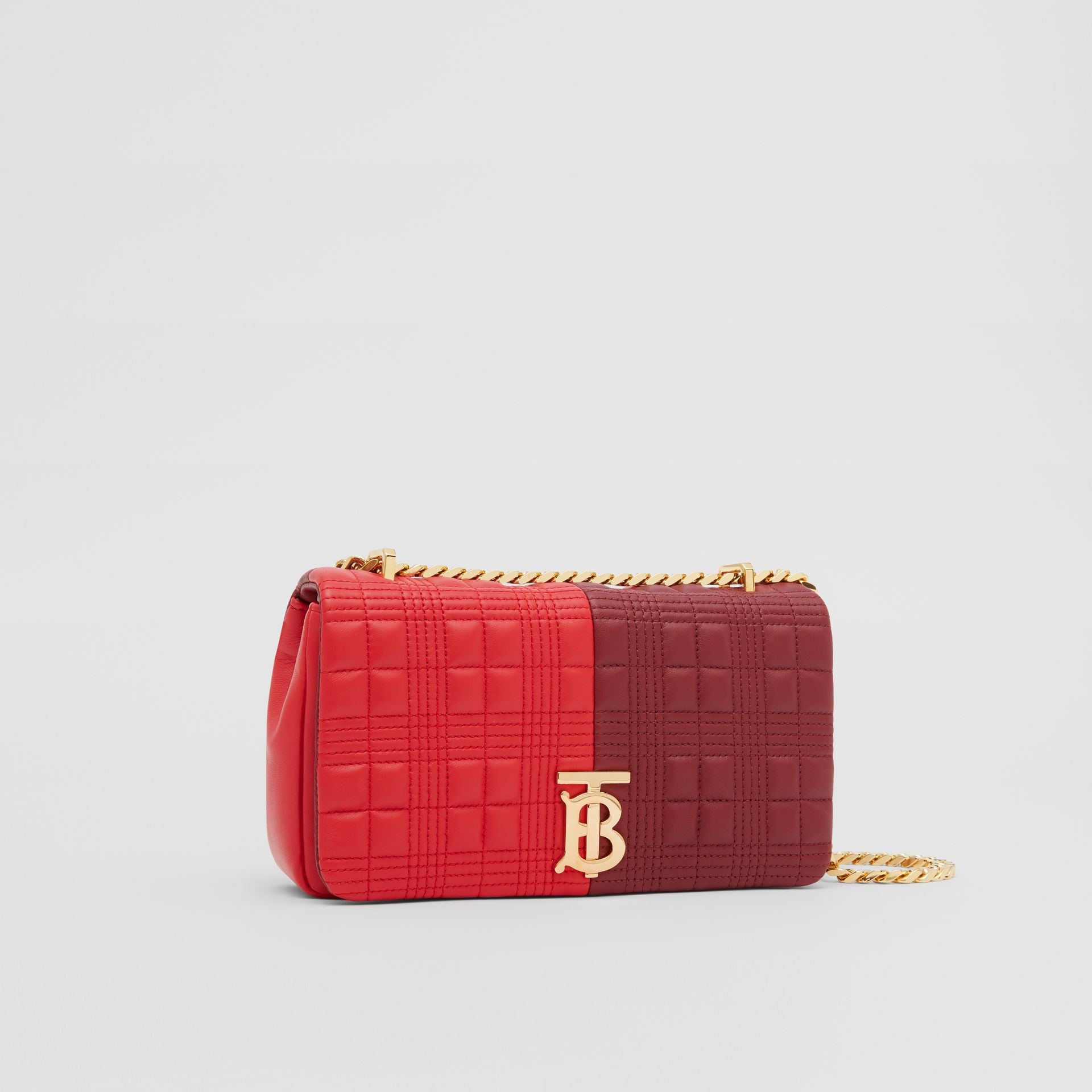 Small Quilted Colour Block Lambskin Lola Bag in Bright Red/burgundy - Women | Burberry Hong Kong S.A.R. - gallery image 6