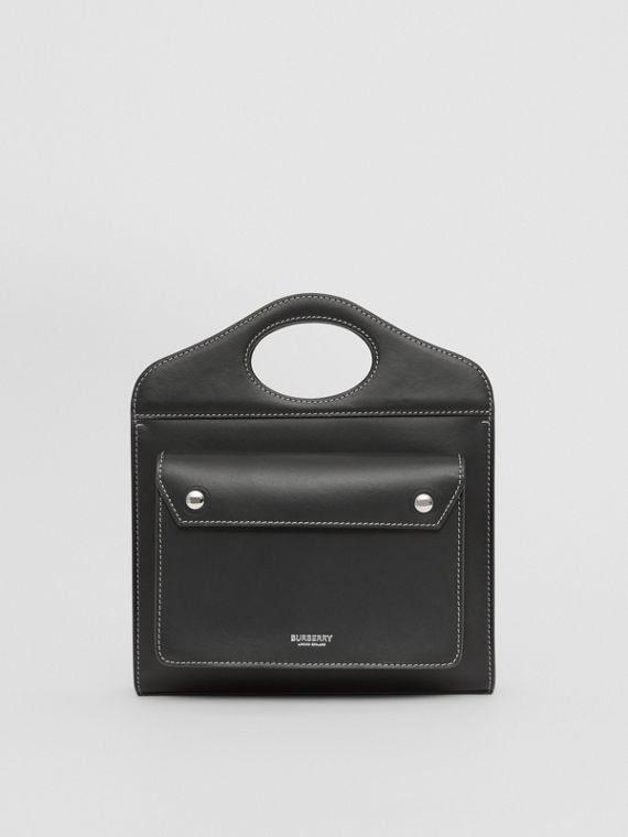 Mini Topstitched Leather Pocket Bag in Black