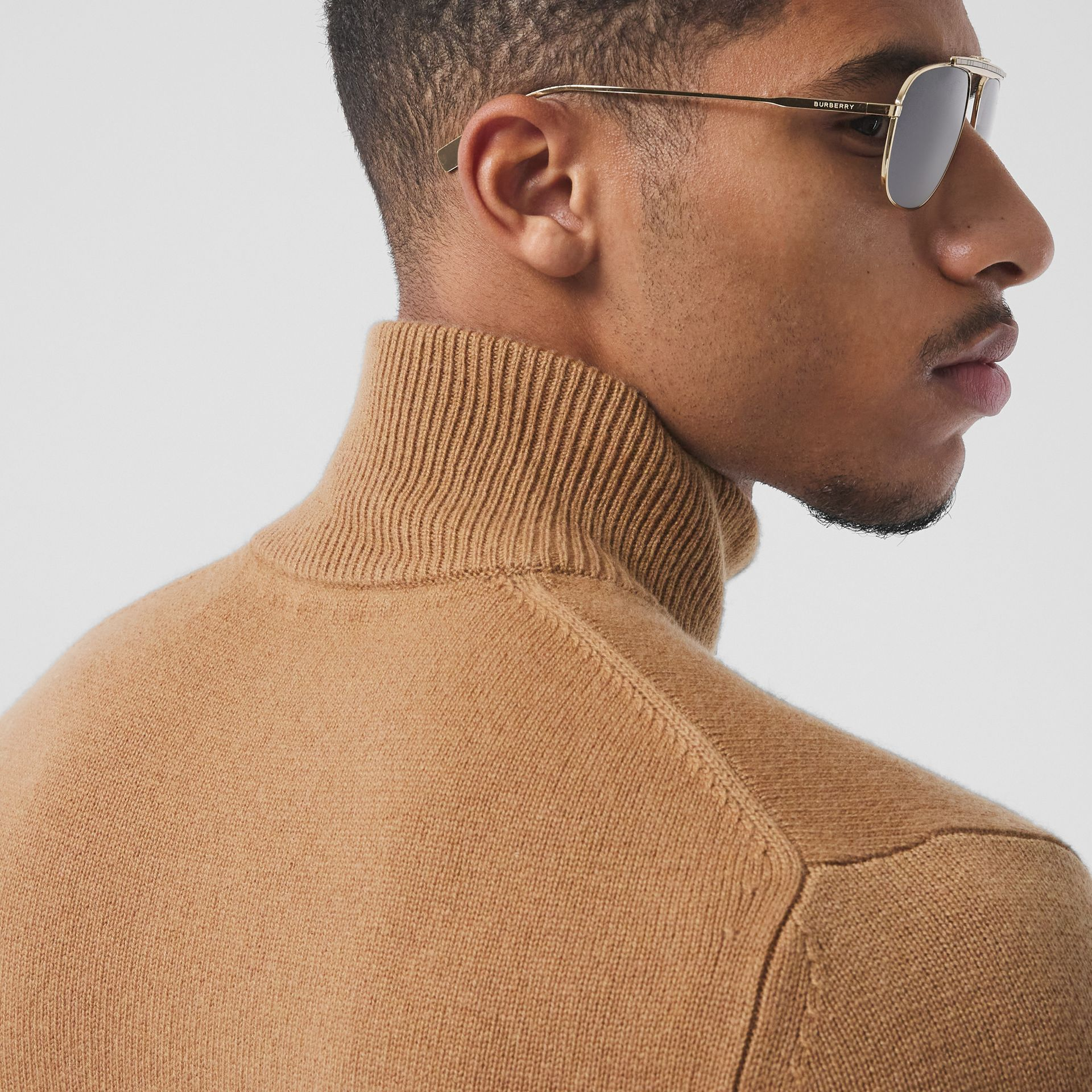 Monogram Motif Cashmere Funnel Neck Sweater in Camel - Men | Burberry - gallery image 1