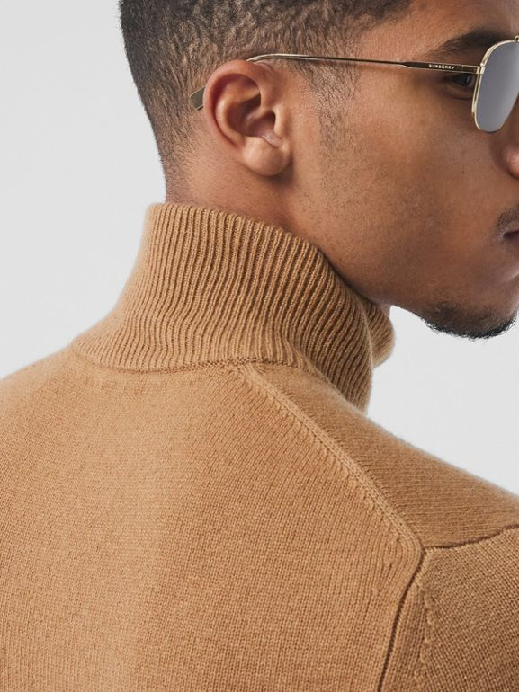 Monogram Motif Cashmere Funnel Neck Sweater in Camel - Men | Burberry - cell image 1