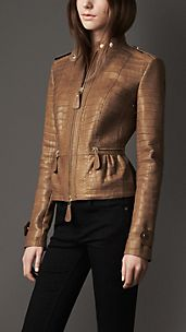 Peplum Detail Alligator Jacket