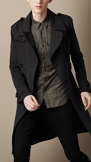 Long Brushed Cotton Military Trench Coat