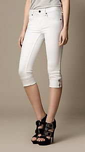 Buckingham Optical White Skinny Fit Capri Jeans