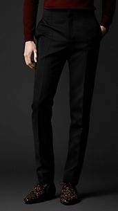 Tailored Wool Ottoman Tuxedo Trousers