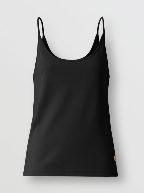 Monogram Motif Stretch Jersey Camisole in Black