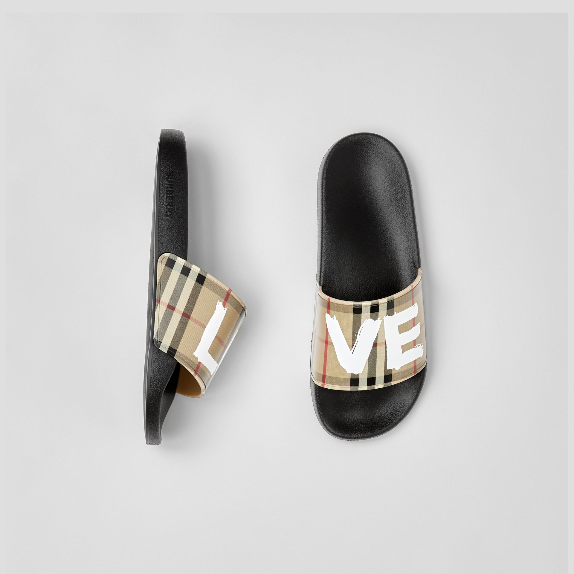 Love Print Vintage Check Slides in Archive Beige - Women | Burberry - gallery image 0