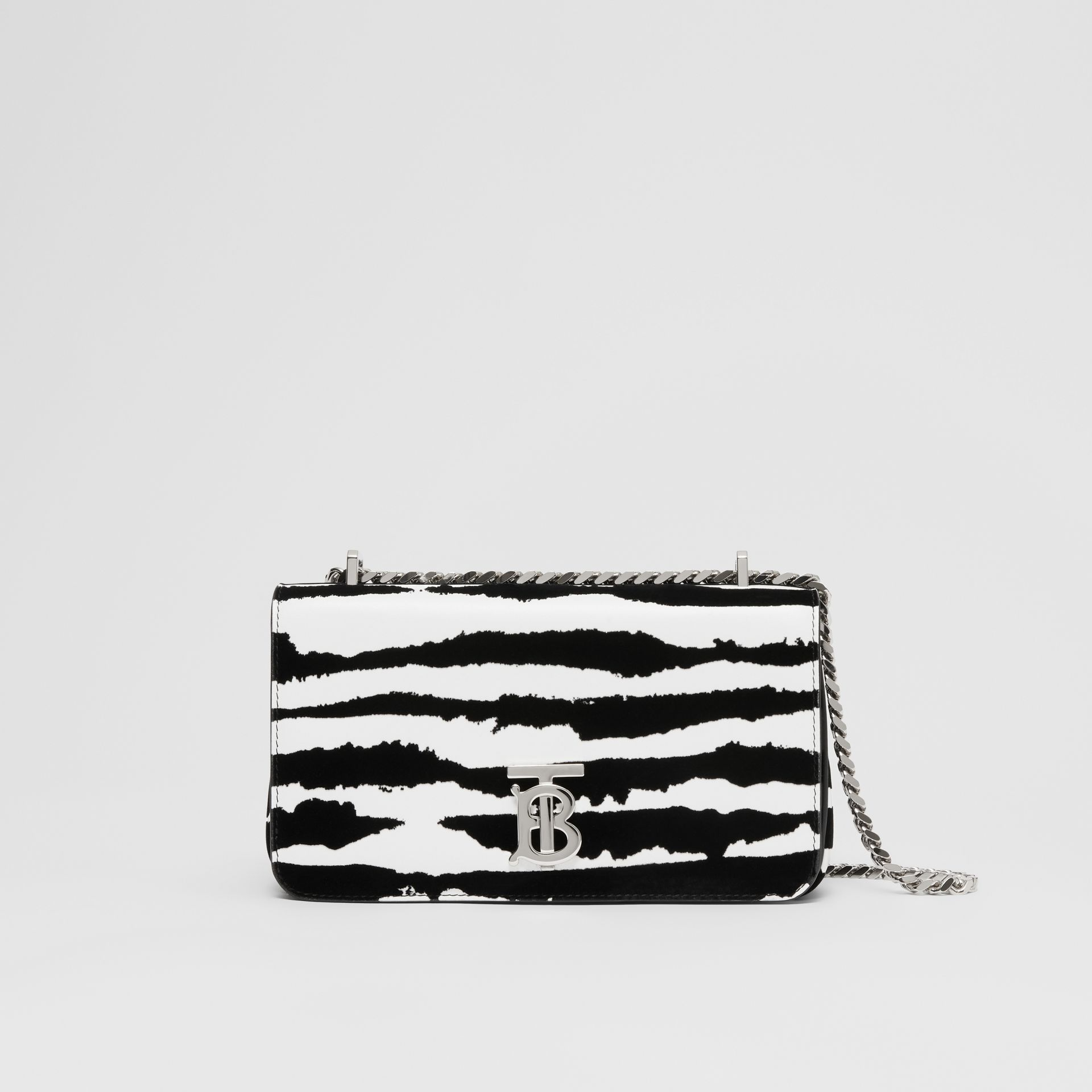 Small Watercolour Flock Leather Lola Bag in White/black - Women | Burberry Hong Kong S.A.R. - gallery image 0
