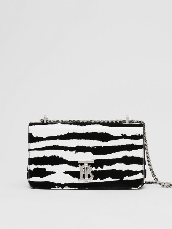 Small Watercolour Flock Leather Lola Bag in White/black