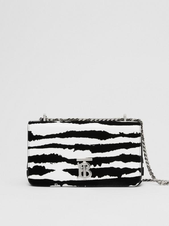 Bolsa Lola de couro flocado com aquarela - Pequena (Branco/preto)