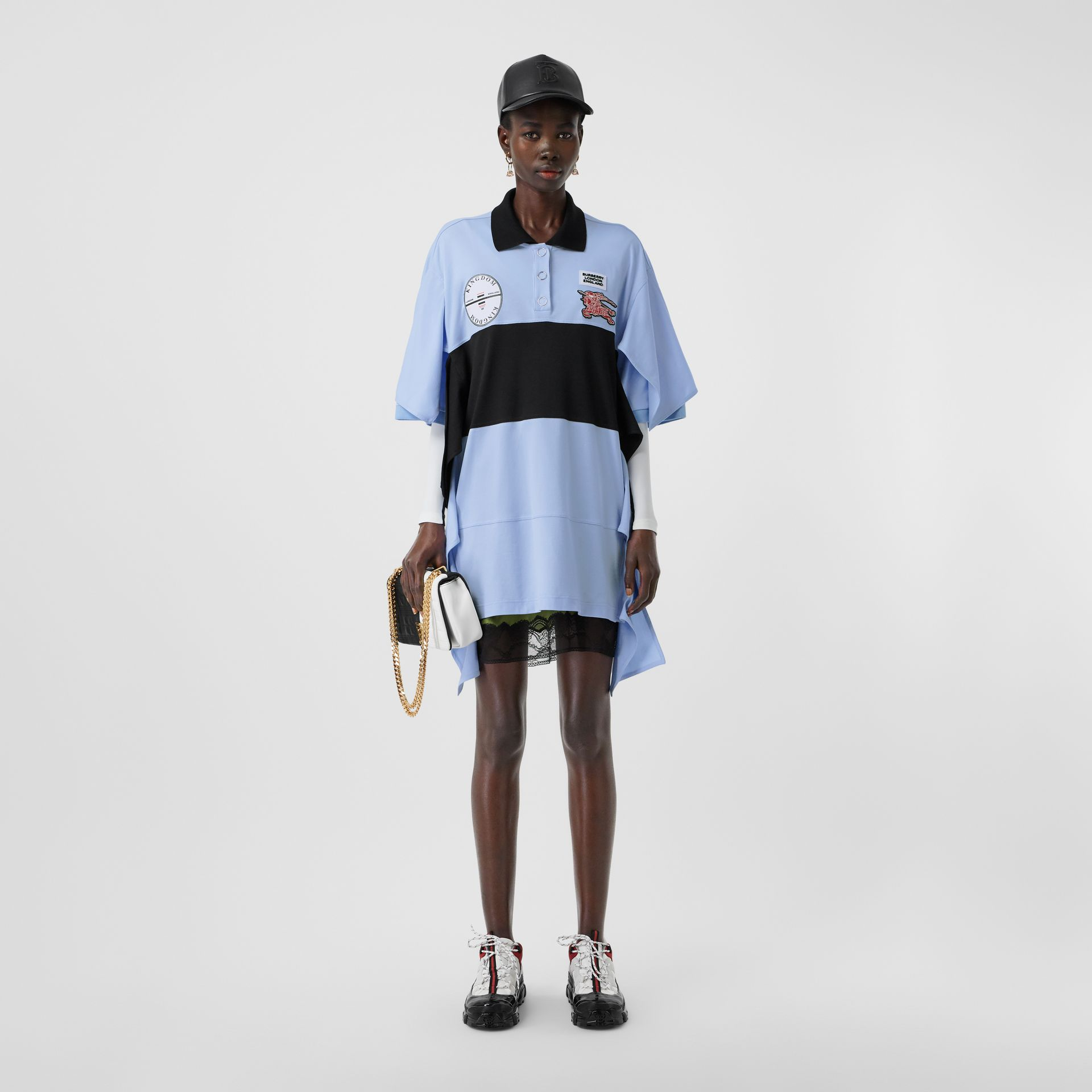 Drape Detail Striped Cotton Oversized Polo Shirt Dress in Baby Blue - Women | Burberry - gallery image 0