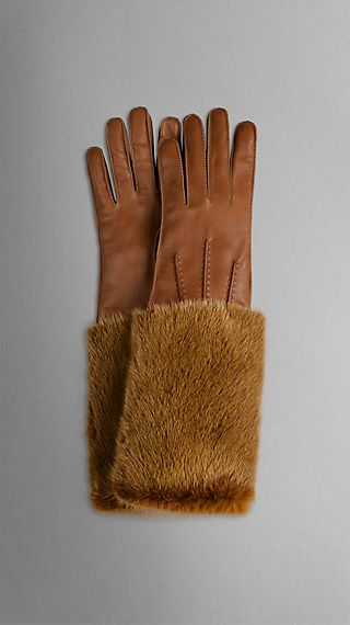 Mink Detail Leather Gloves