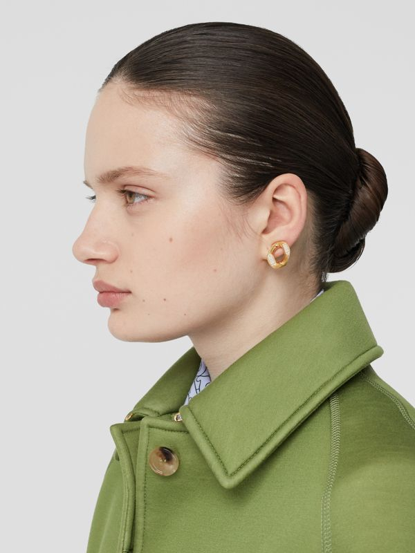 Crystal Gold-plated Chain-link Earrings – Online Exclusive - Women | Burberry - cell image 2
