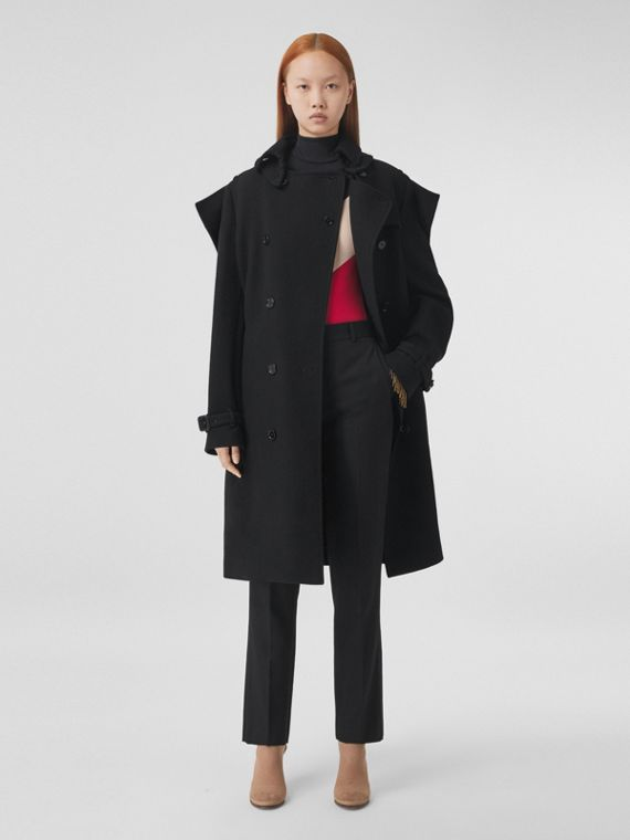 Panel Detail Cashmere Wool Blend Trench Coat in Black
