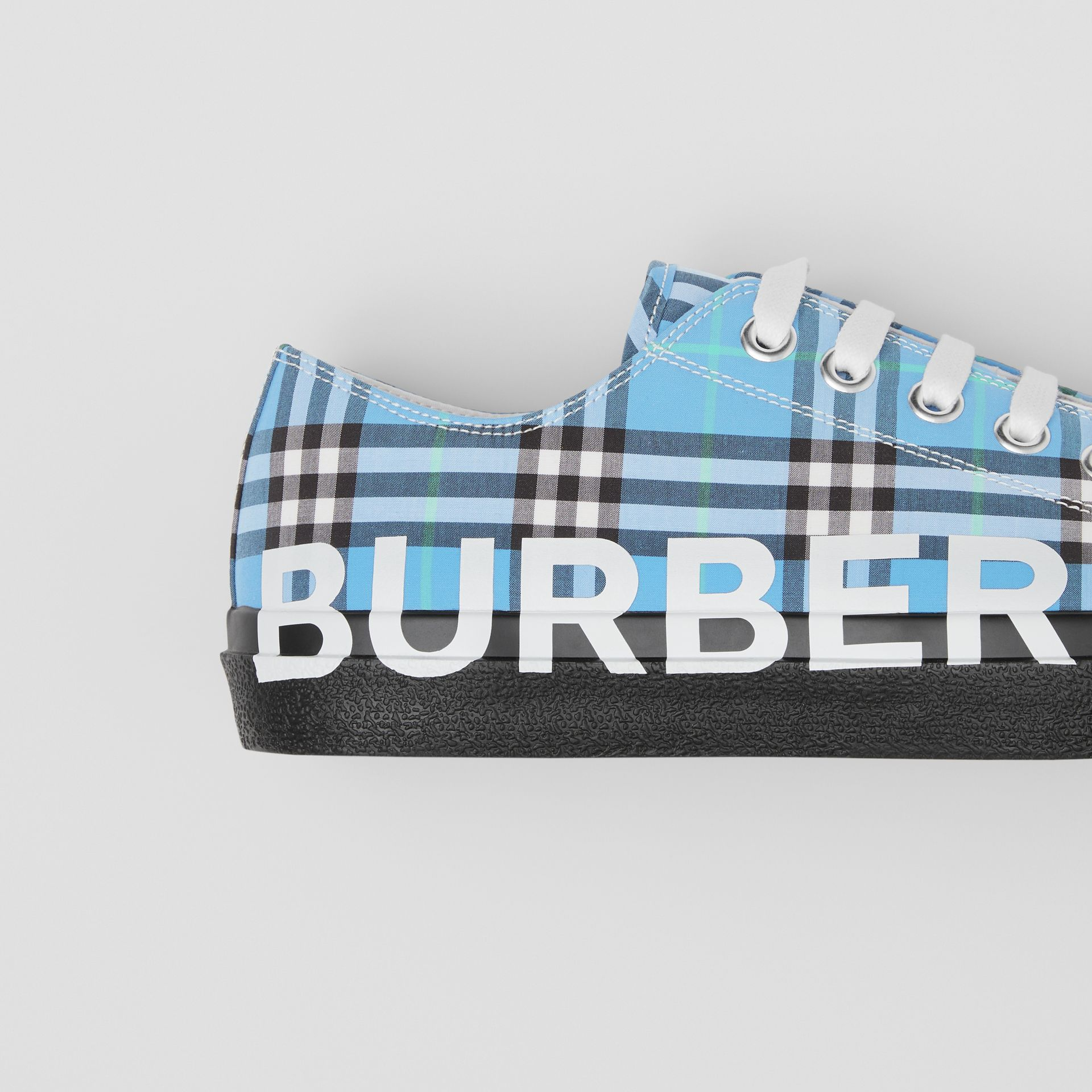 Logo Print Check Cotton Sneakers in Blue Azure - Men | Burberry - gallery image 1