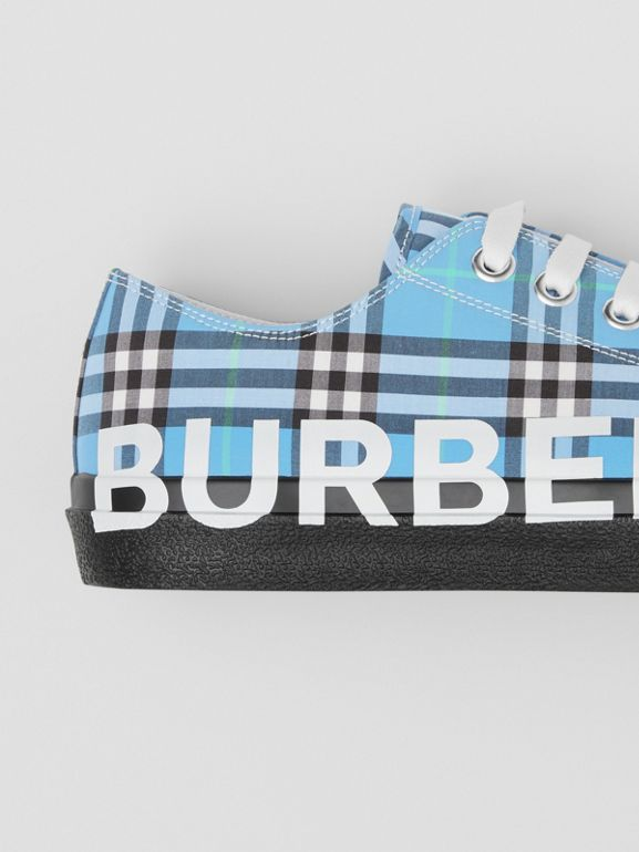 Logo Print Check Cotton Sneakers in Blue Azure - Men | Burberry - cell image 1