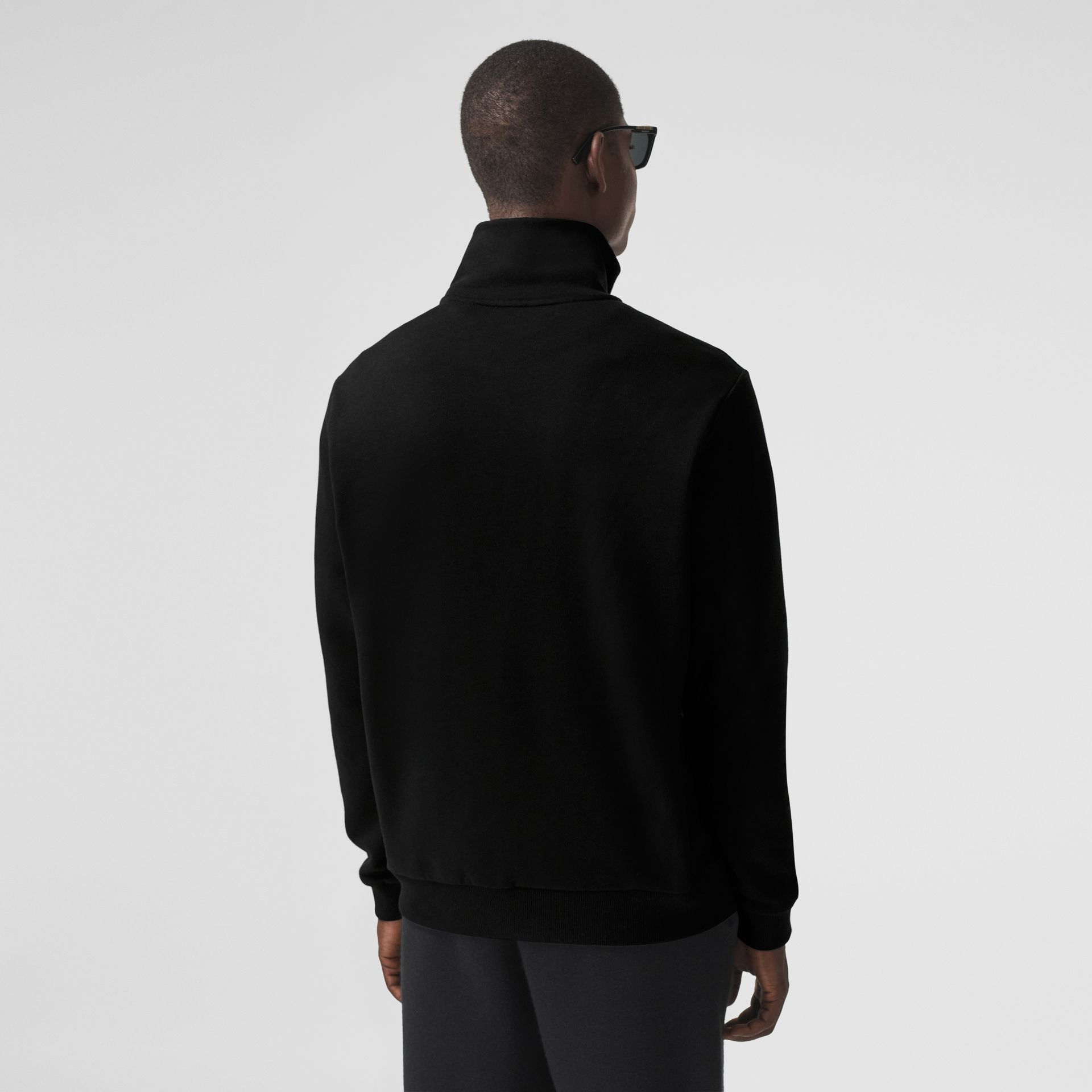 Icon Stripe Detail Cotton Funnel Neck Top in Black - Men | Burberry - gallery image 2