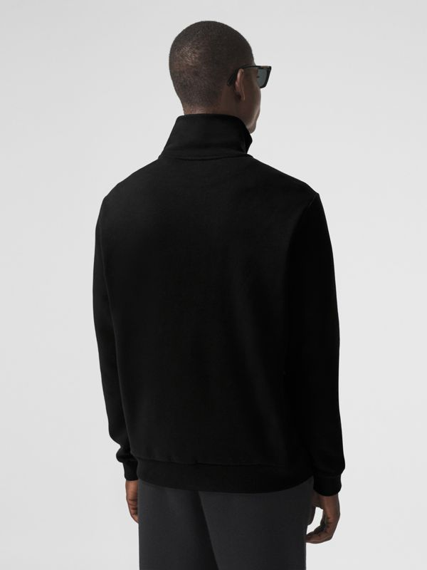 Icon Stripe Detail Cotton Funnel Neck Top in Black - Men | Burberry - cell image 2