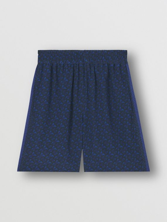 Pantaloncini in seta con stampa monogramma a righe - Esclusiva online (Blu Reale Scuro)