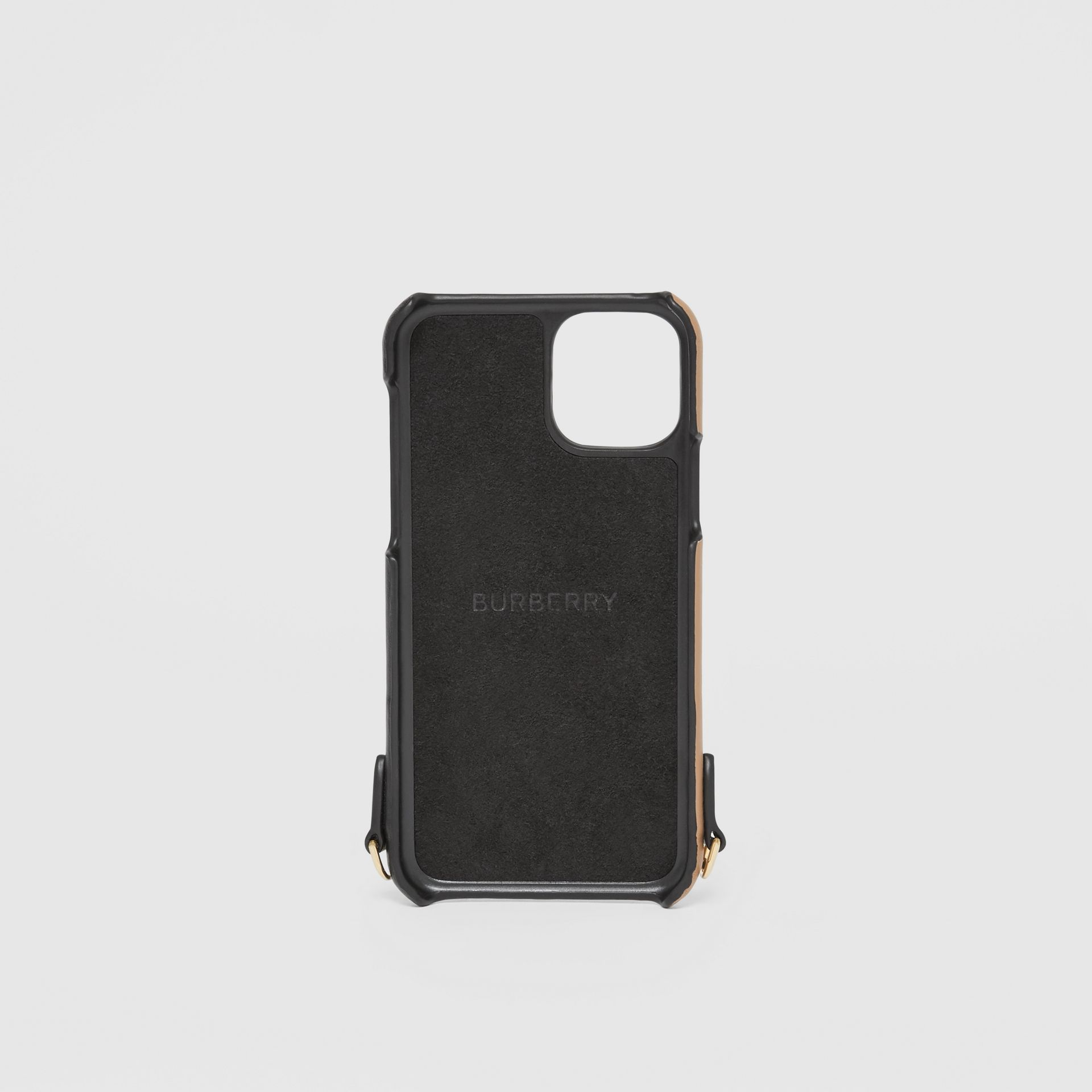 Two-tone Leather iPhone 11 Pro Case Lanyard in Black/camel | Burberry - gallery image 4