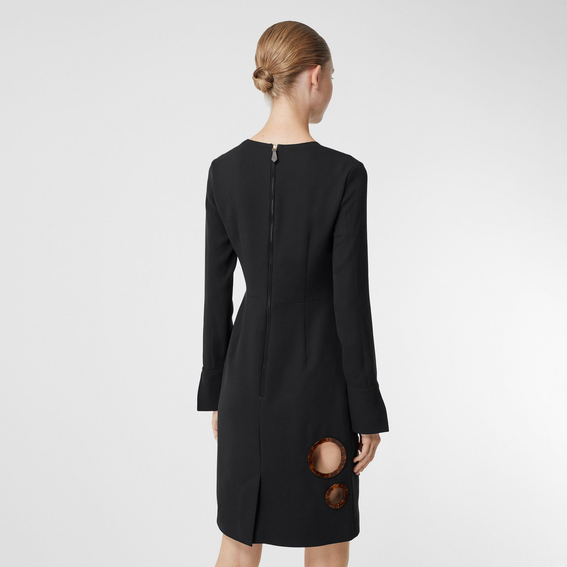 Cut-out Detail Stretch Silk Crepe Shift Dress in Black - Women | Burberry - gallery image 2