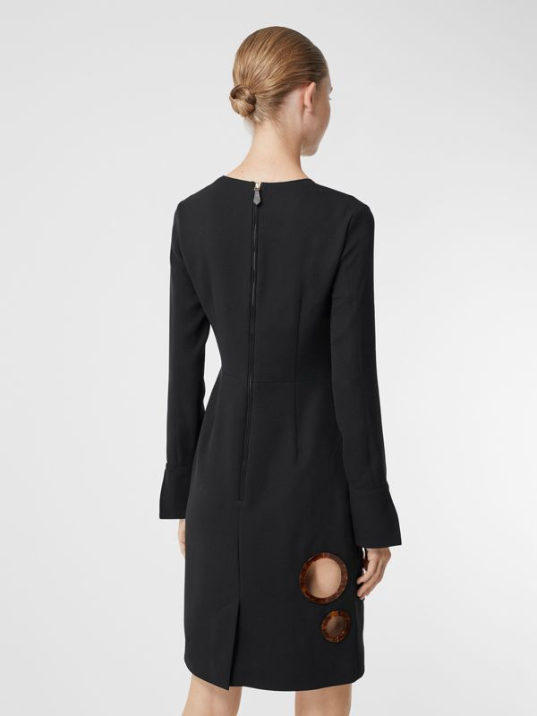 Cut-out Detail Stretch Silk Crepe Shift Dress in Black - Women | Burberry - cell image 2