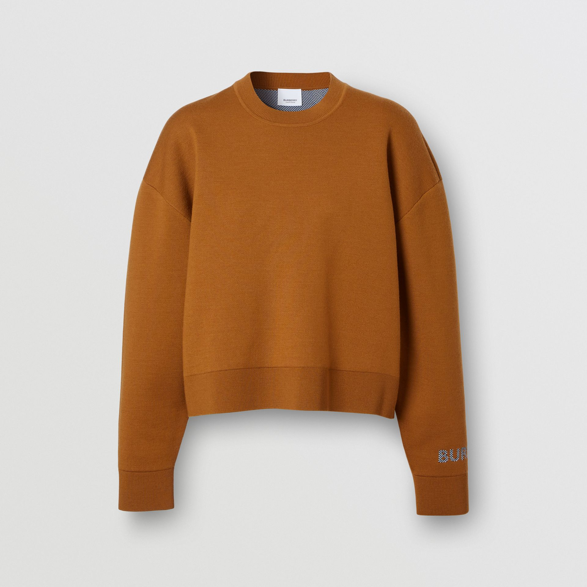 Logo Technical Merino Wool Jacquard Sweater in Chestnut - Women   Burberry - gallery image 3