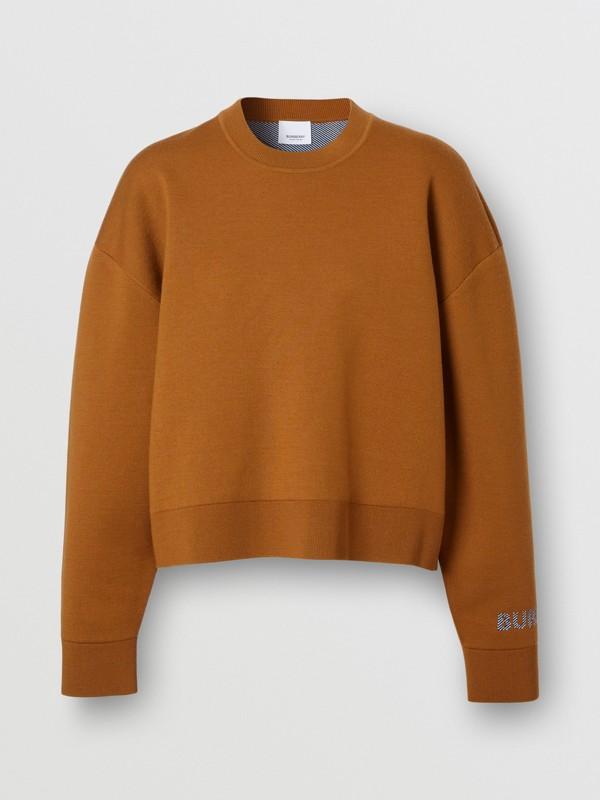 Logo Technical Merino Wool Jacquard Sweater in Chestnut - Women   Burberry - cell image 3