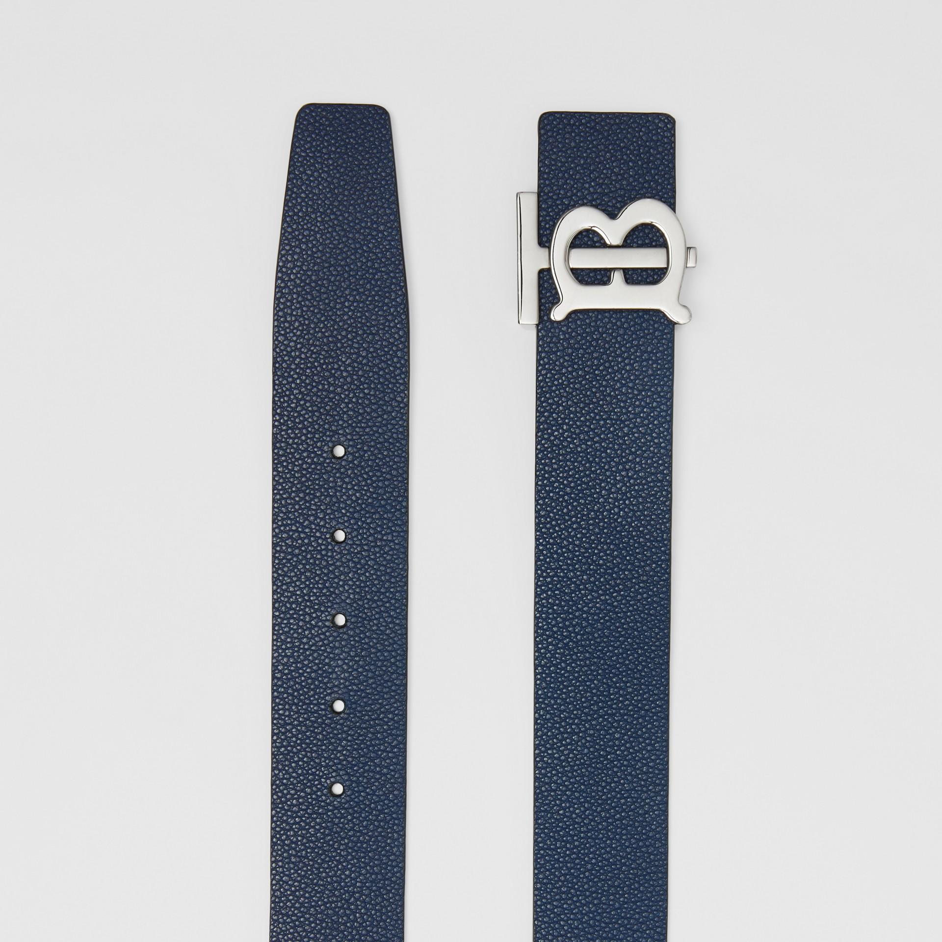 Reversible Monogram Motif Leather Belt in Navy/black - Men | Burberry United Kingdom - gallery image 7
