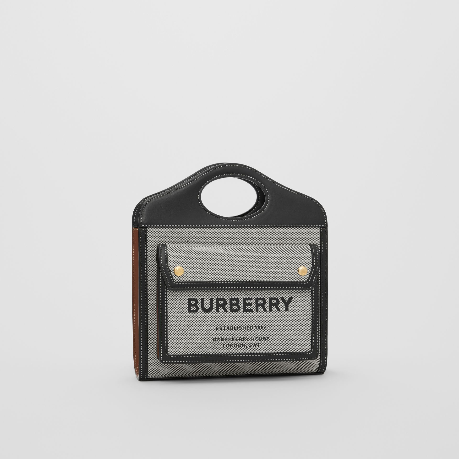 Borsa Pocket mini tricolore in tela e pelle (Nero/marroncino) - Donna | Burberry - immagine della galleria 6