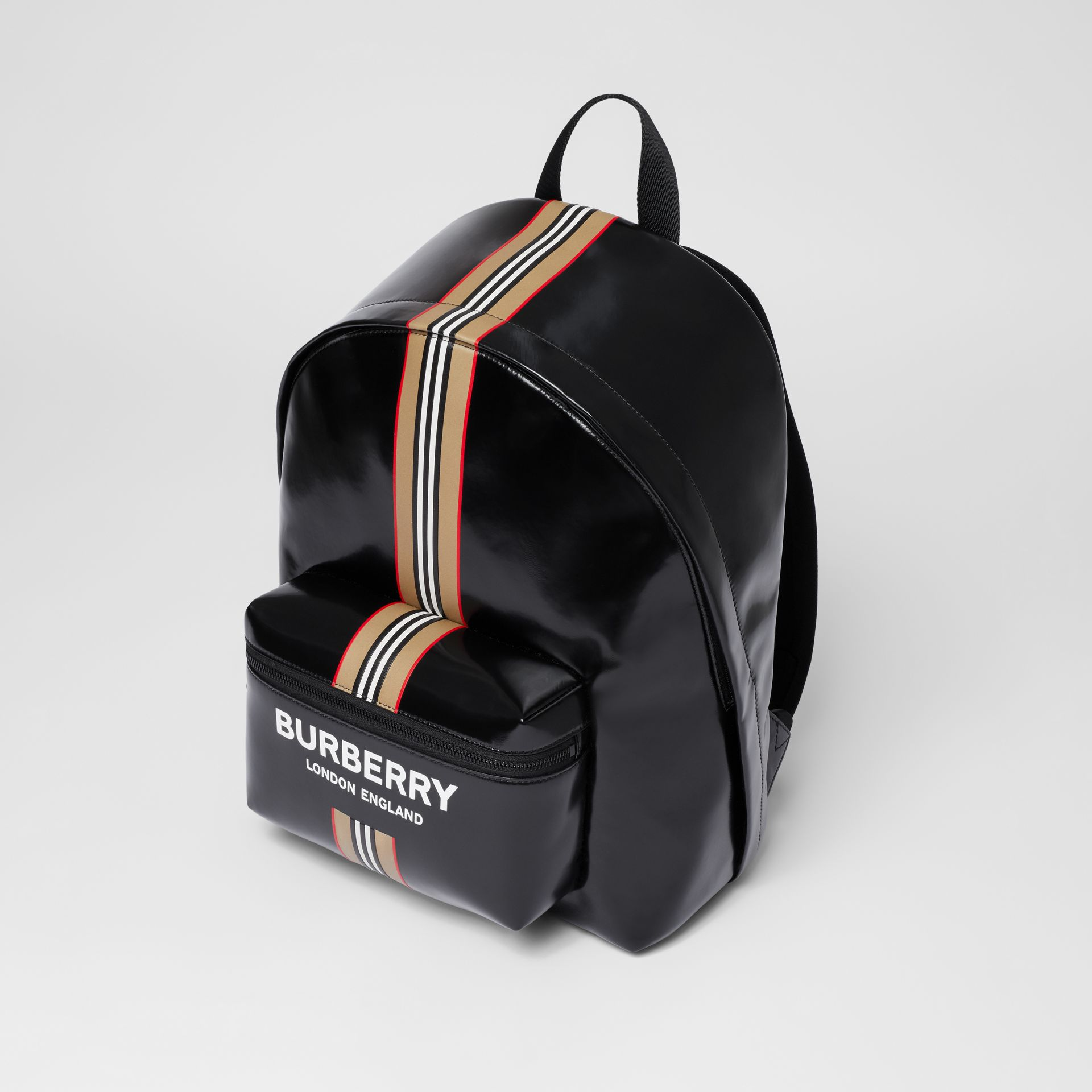 Logo and Icon Stripe Print Backpack in Black - Men | Burberry United Kingdom - gallery image 2