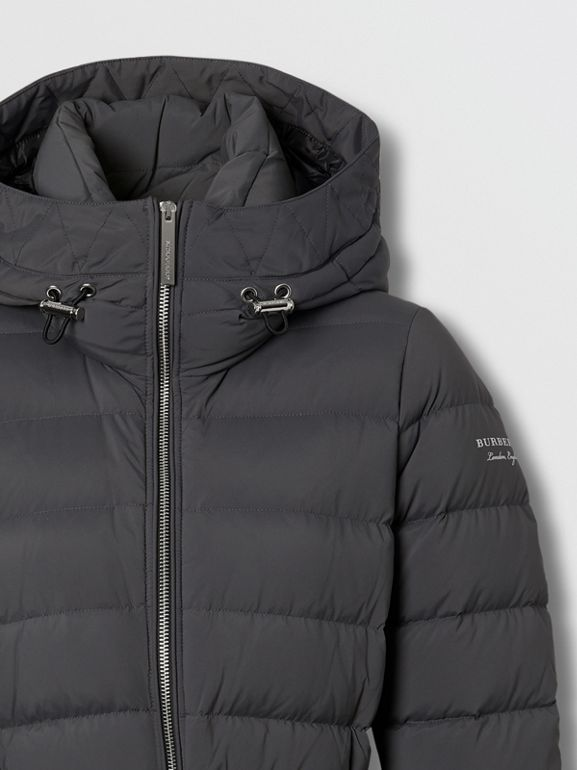Logo Print Hooded Puffer Coat in Mid Grey - Women | Burberry - cell image 1