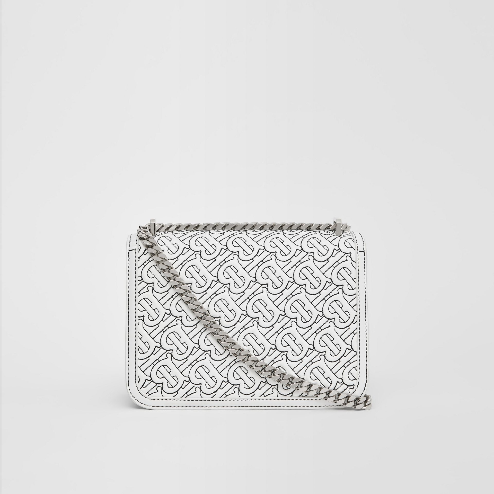 Small Quilted Monogram Lambskin TB Bag in Optic White - Women | Burberry - gallery image 7