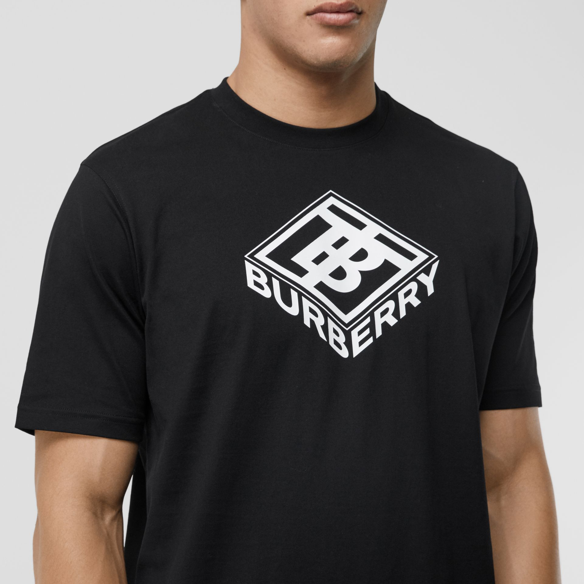 Logo Graphic Cotton T-shirt in Black - Men | Burberry - gallery image 5