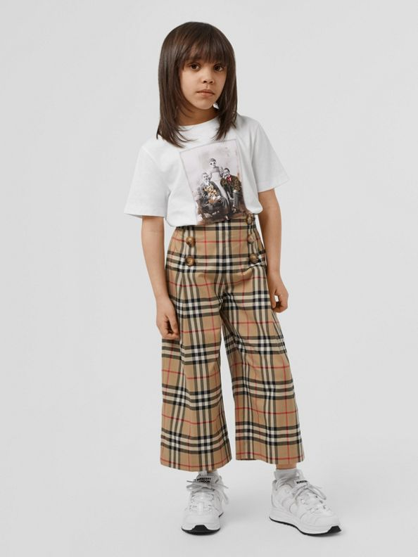 Vintage Check Cotton Sailor Trousers in Archive Beige