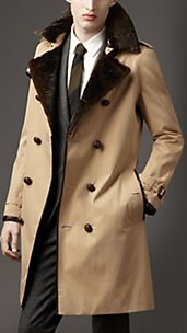 Long Fur Collar Cotton Trench Coat