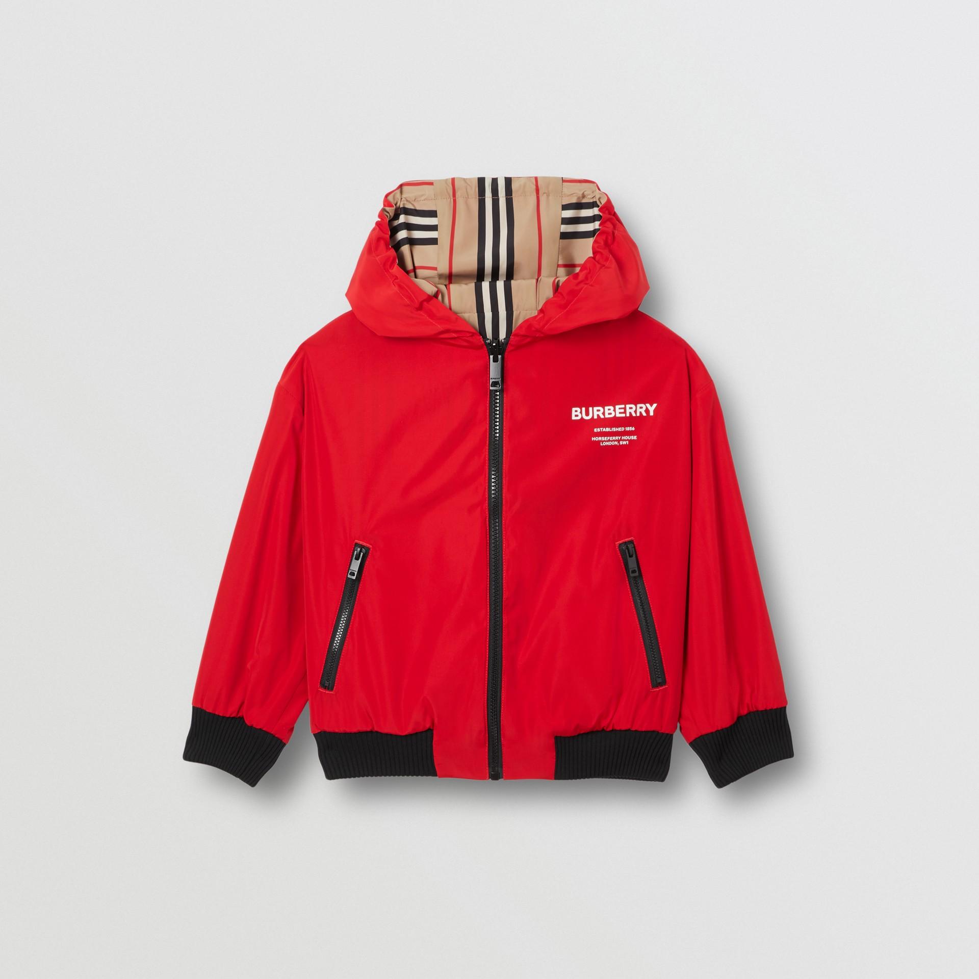 Veste à capuche réversible avec rayures iconiques (Rouge Vif) | Burberry Canada - photo de la galerie 4