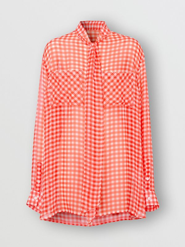 Gingham Silk Chiffon Pussy-bow Blouse in Red - Women | Burberry - cell image 3
