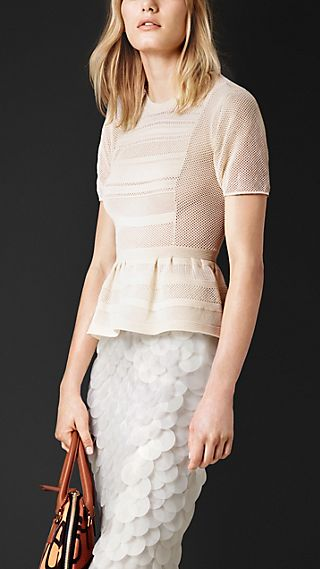 Perforated Cotton Lace Peplum Top