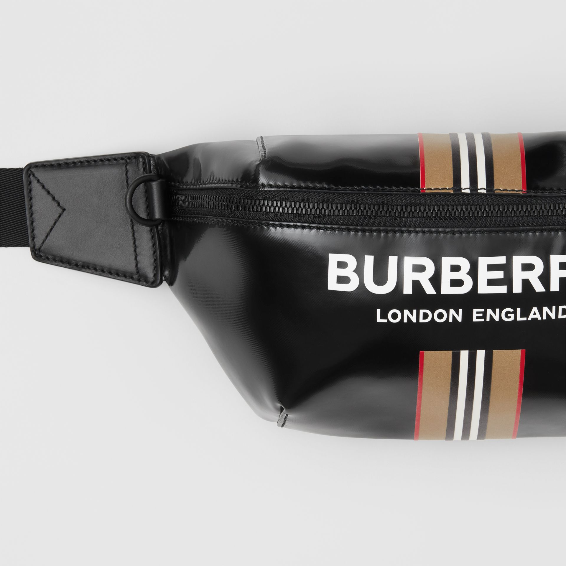 Logo and Icon Stripe Print Sonny Bum Bag in Black - Men | Burberry United Kingdom - gallery image 1