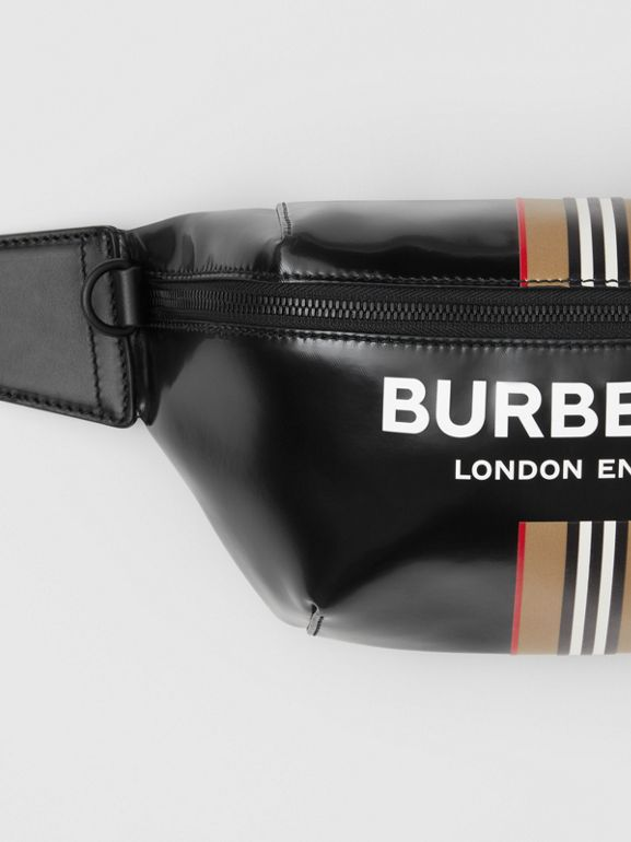 Logo and Icon Stripe Print Sonny Bum Bag in Black - Men | Burberry United Kingdom - cell image 1