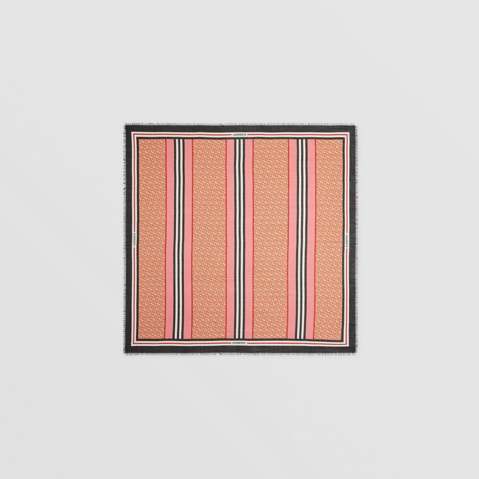 Icon Stripe Monogram Print Wool Silk Square Large Scarf in Camellia Pink | Burberry - gallery image 0