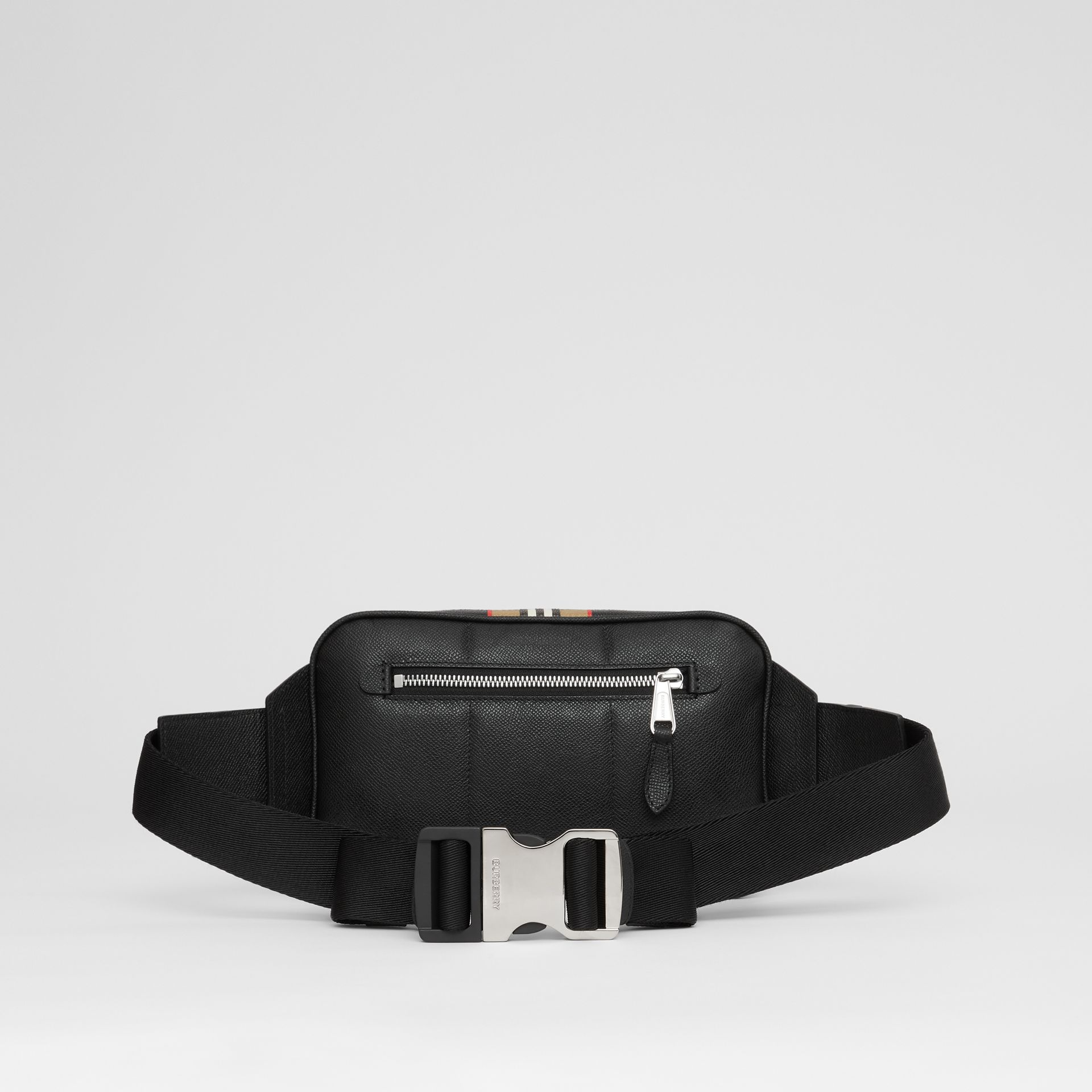 Icon Stripe Print Grainy Leather Bum Bag in Black - Men | Burberry - gallery image 9