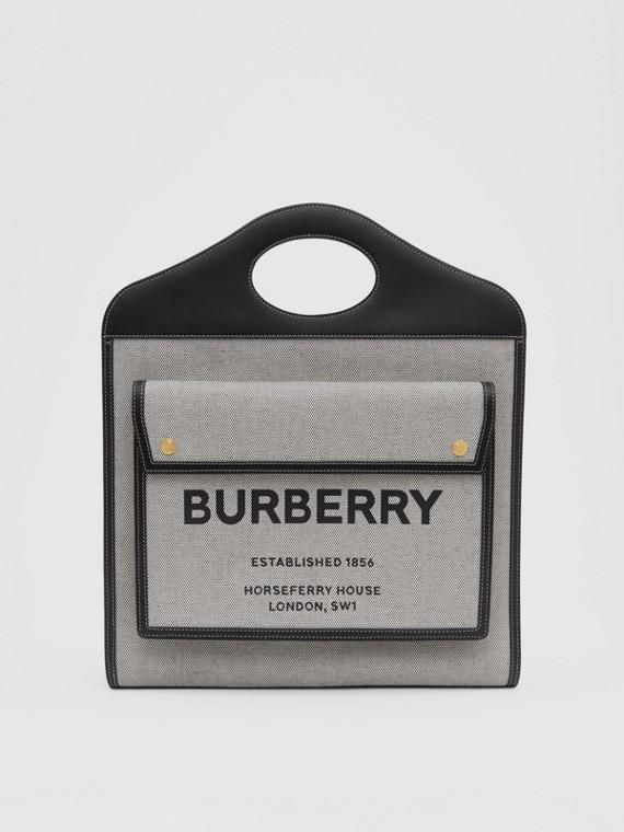 Bolso Pocket mediano bicolor en lona y piel (Negro/cuero)
