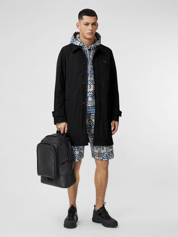 TB Motif Shape-memory Taffeta Car Coat in Black