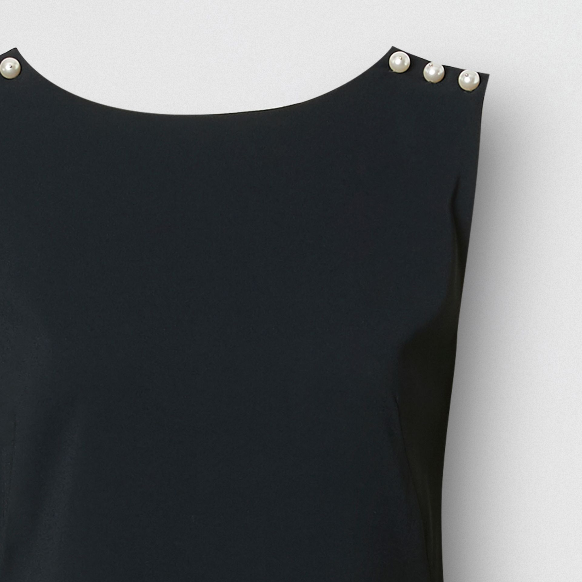 Glass Pearl Detail Satin Crepe Shift Dress in Black - Women | Burberry - gallery image 6