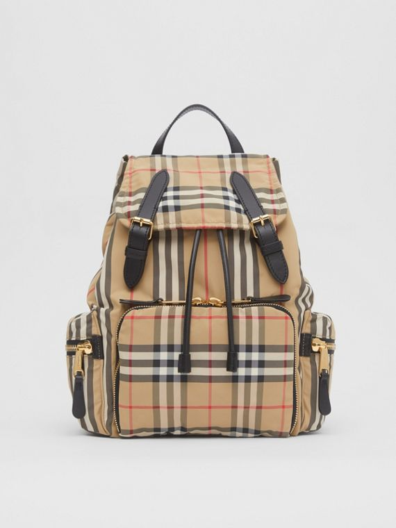 The Medium Rucksack in Vintage Check ECONYL® in Archive Beige