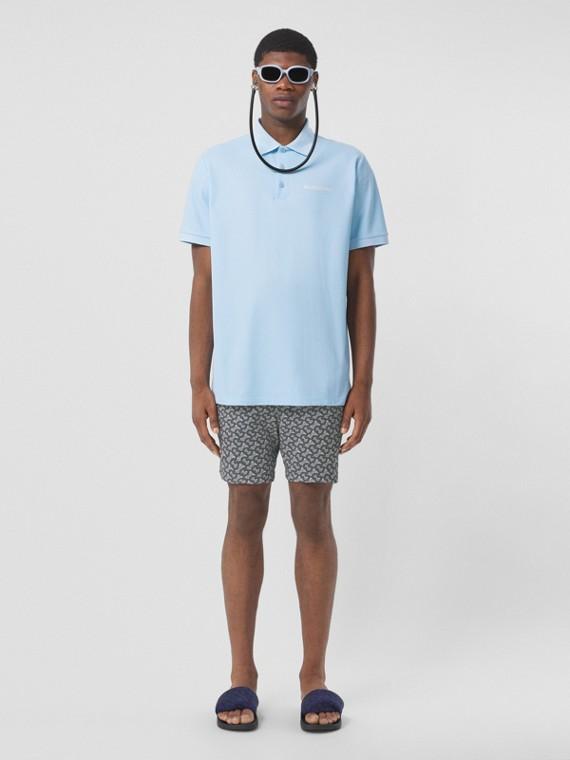 Polo oversize in cotone piqué con monogramma (Blu Pallido)