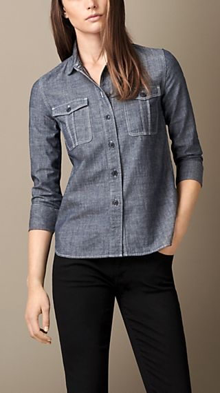 Cotton Chambray Utility Shirt