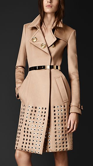 Embellished Cashmere Trench Coat